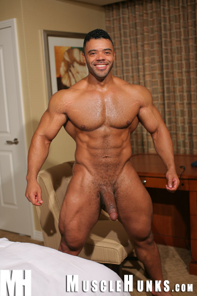 MuscleHunks.com just added a new set of videos for the adorable, HAIRY... that's right, HAIRY and verbal muscle hunk Mario Borelli. Mario has got to be the perfect guy. He's out on the streets of Vegas, talking on his cell, goofing around... etc. Then they cut to him jerking off his HUGE COCK and the whole time he's talking dirty to the camera about how hard he's going to cum and how horny he is. Such a turn on! Love a guy who knows how to talk dirty. Get really verbal while he strokes his meat.