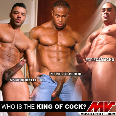 MuscleHunks.com added a hairy, verbal, latino muscle man, Mario Borelli to the site. Mario's got a massive dick, which made me start to wonder who my favorite big dicked Muscle man was. I thought I'd make a poll about it! Between Eddie Camacho, Rodney St. Cloud and Mario Borelli- which model has the *best* cock. Remember, it's not all about size. There's shape, color… taste